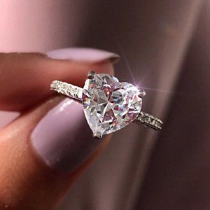 Heart Shaped White Sapphire .925 Silver Ring